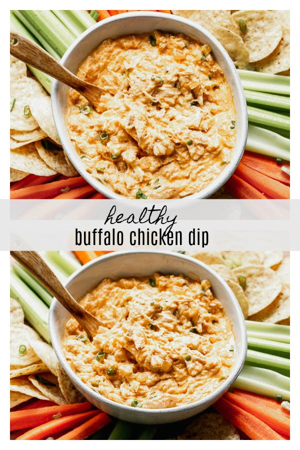 Healthy Buffalo Chicken Dip (without cream cheese!) is paced with Greek yogurt, onion and garlic, buffalo sauce, a little bit of blue cheese, a touch of mayo, and plenty of tender shredded chicken.