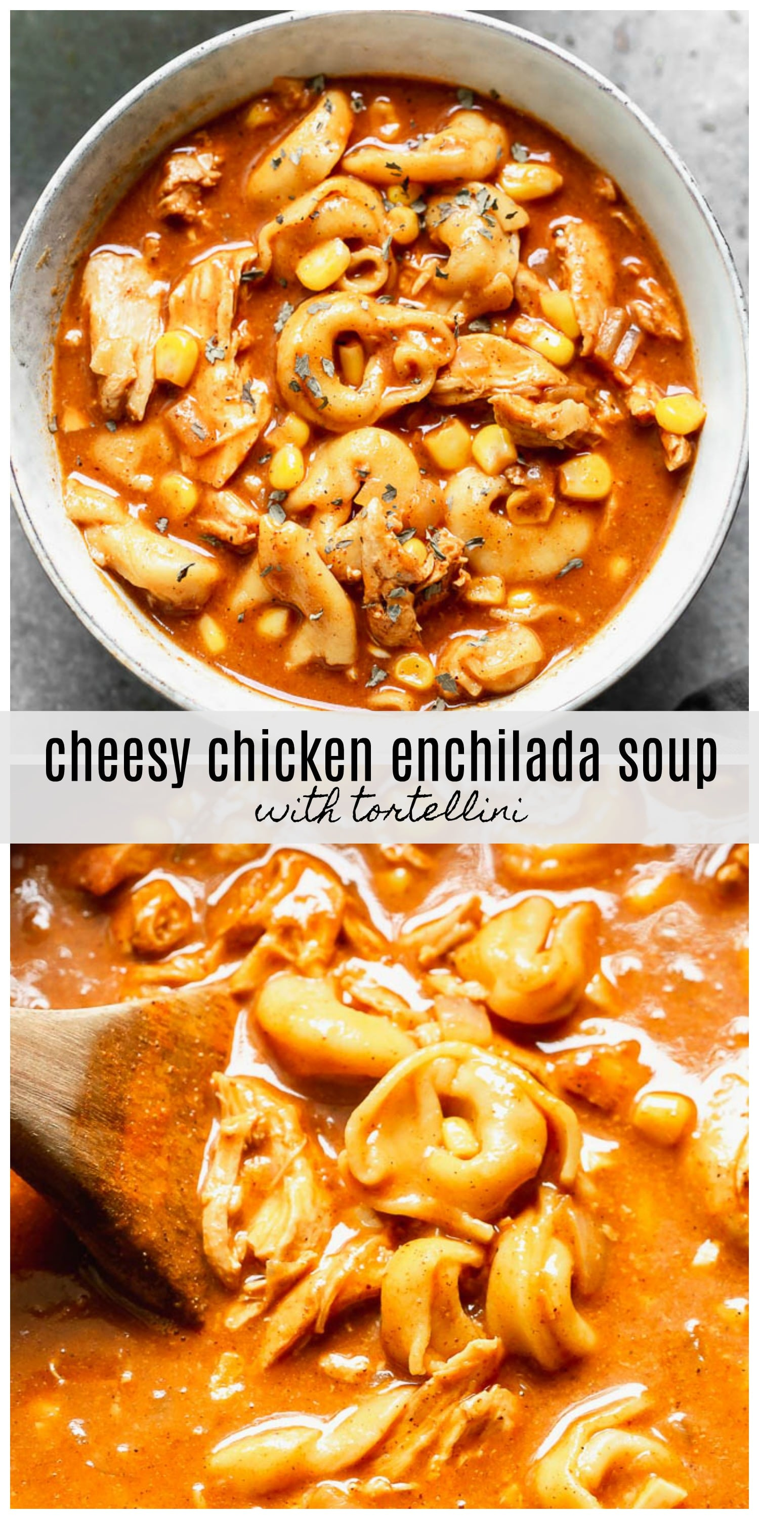 Cheesy Chicken Enchilada Soup with Tortellini is the easiest throw-it-all-in-a-pot, cozy fall soup. It's packed with tender chicken, sweet corn, tortellini, the most delicious enchilada-like flavor, plenty of sharp cheddar cheese. Comforting and so delicious.