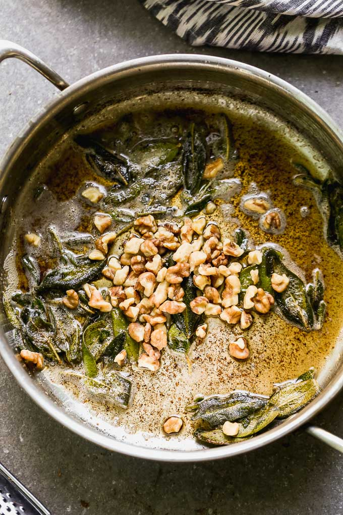 brown butter with sage and walnuts