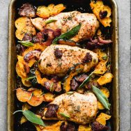 One Pan Chicken with Bacon and Acorn Squash