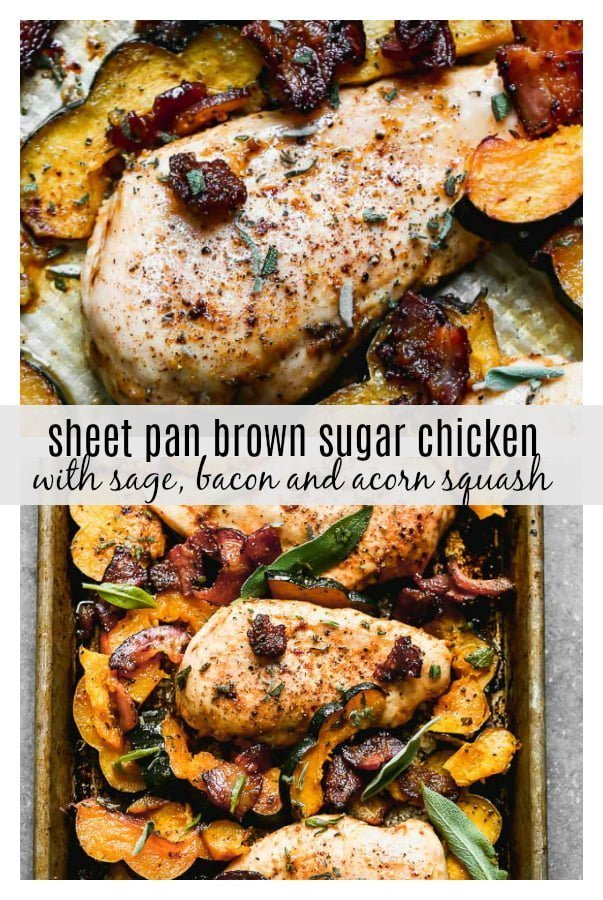 One Pan Chicken with Bacon and Acorn Squash is a fall weeknight dream. Tender chicken breasts are seasoned in a sweet and savory rub and baked with McCormick Grill Mates Brown Sugar Bourbon Bacon, plenty of sweet acorn squash, and lots of fresh sage. From start to finish One Pan Chicken takes less than 45 minutes to make, of which, most is hands off.