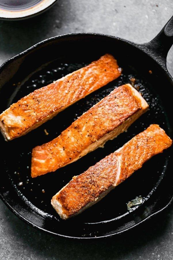 Sear salmon until crisp