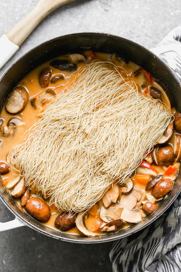 Add in brown rice noodles.
