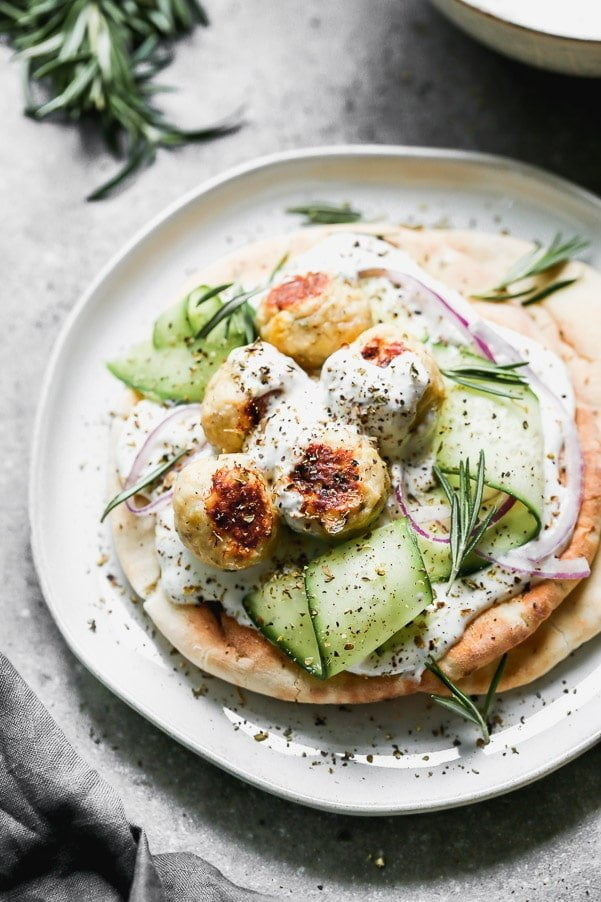 Greek Chicken Pitas with Whipped Feta. Quick and easy weeknight dinner!