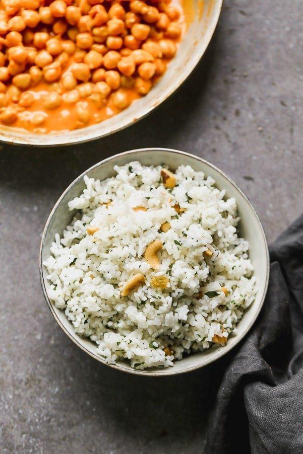 Jasmine rice with cashews, raisins, and cilantro.