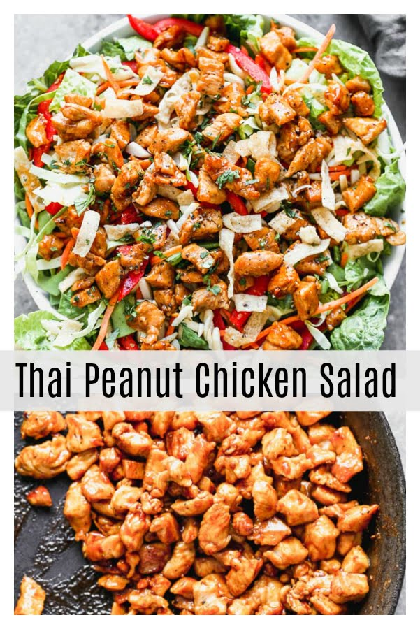 Thai Peanut Chicken Salad is packed with crisp cabbage, plenty of veggies, slivered almonds, and crunchy wonton noodles. It's tossed in a quick sesame vinaigrette and topped off with crispy, saucy peanut-laced chicken. So many delicious flavors and textures happening here!