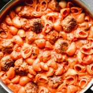 One Pot Creamy Tomato Pasta Sauce and Meatballs