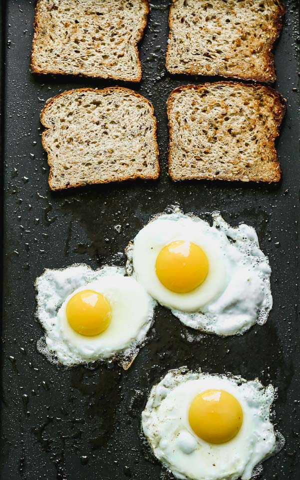 Bread toasting and eggs frying