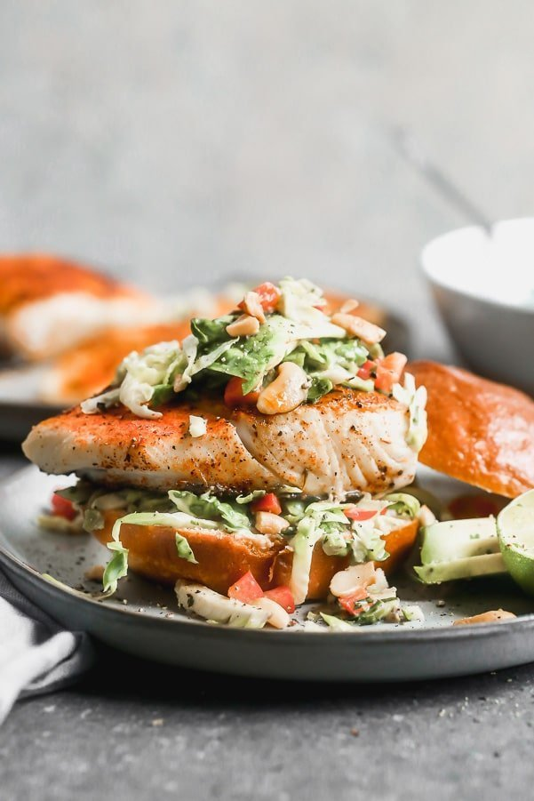 Halibut sandwich with Brussels sprout slaw
