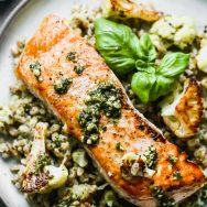 Crispy Salmon with Pesto and Cauliflower