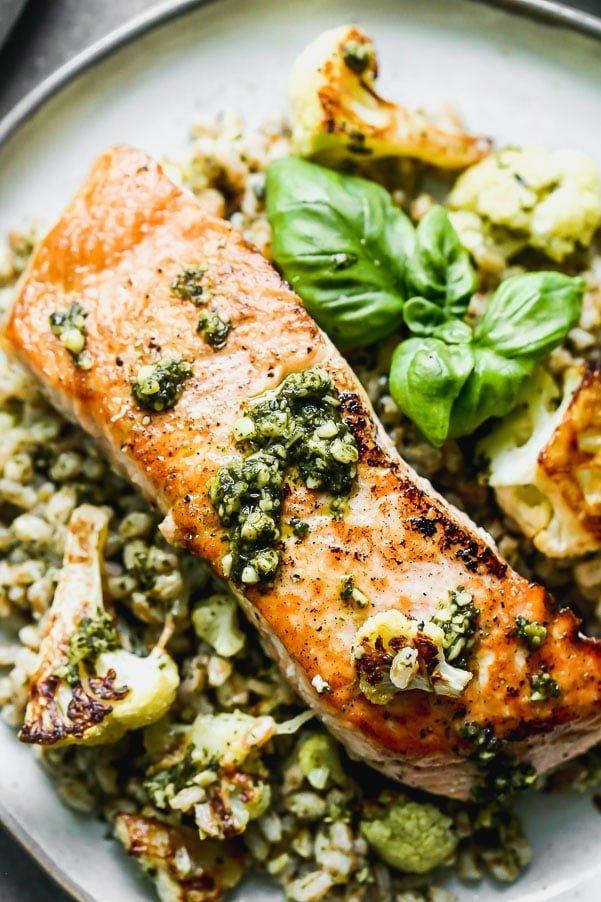 5-Ingredient Crispy Salmon with Farro and Pesto