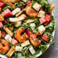 Blackened Shrimp and Halloumi Salad