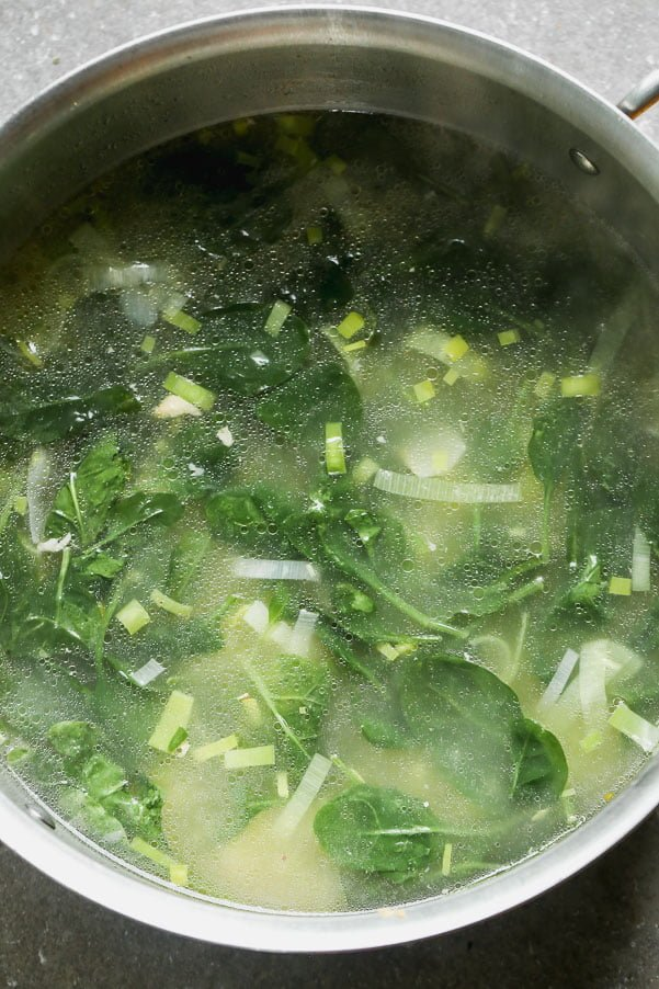 Leeks and spinach in detox broth