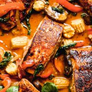Red Curry Salmon and Veggies