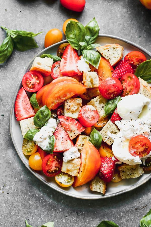 Burrata Panzanella with Strawberries, Heirloom Tomatoes, Basil, and Truffle Burrata