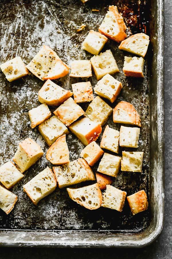 Garlicky asiago ciabatta croutons