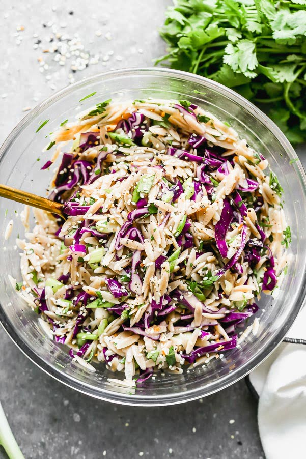 Our Cold Orzo Salad with Sesame is packed with whole-wheat orzo, a DELISH sesame lime vinaigrette, and loads of veggies. 25 minutes!