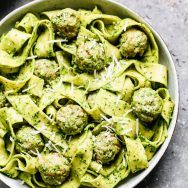Kale Pesto Pasta with Chicken Meatballs
