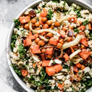 Warm Quinoa and Kale Salad with Roasted Veggies