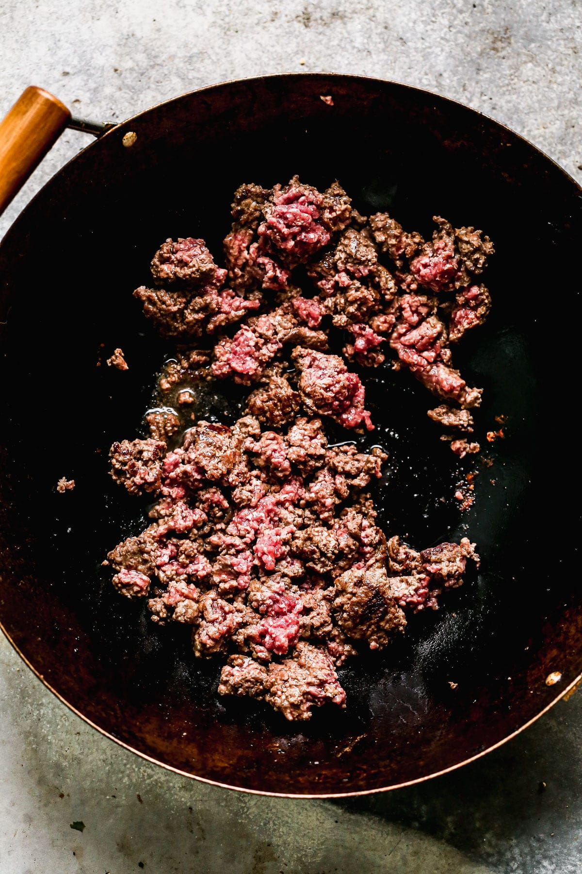 Ground Beef cooking in a wok
