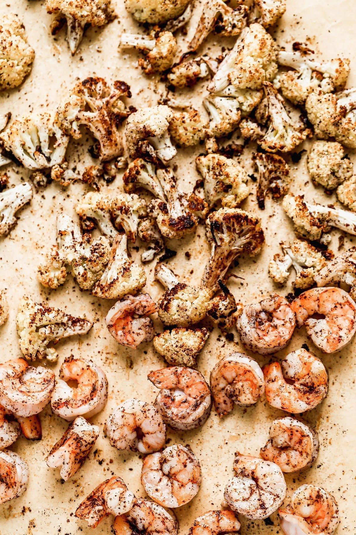 Sumac roasted cauliflower and shrimp