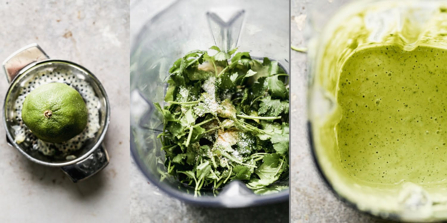 Green tahini sauce being made in the blender