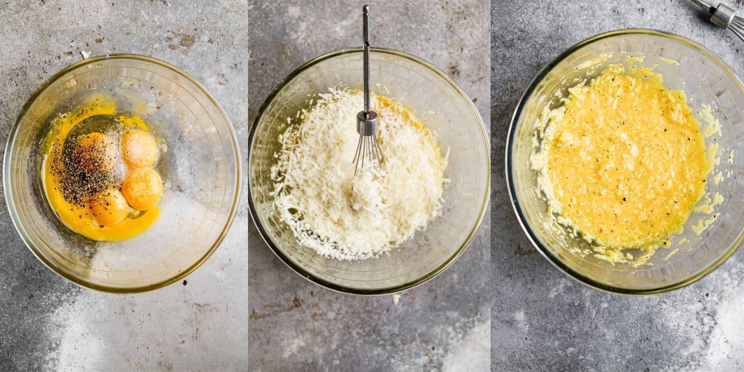 Whisk eggs with cheese, salt and pepper.