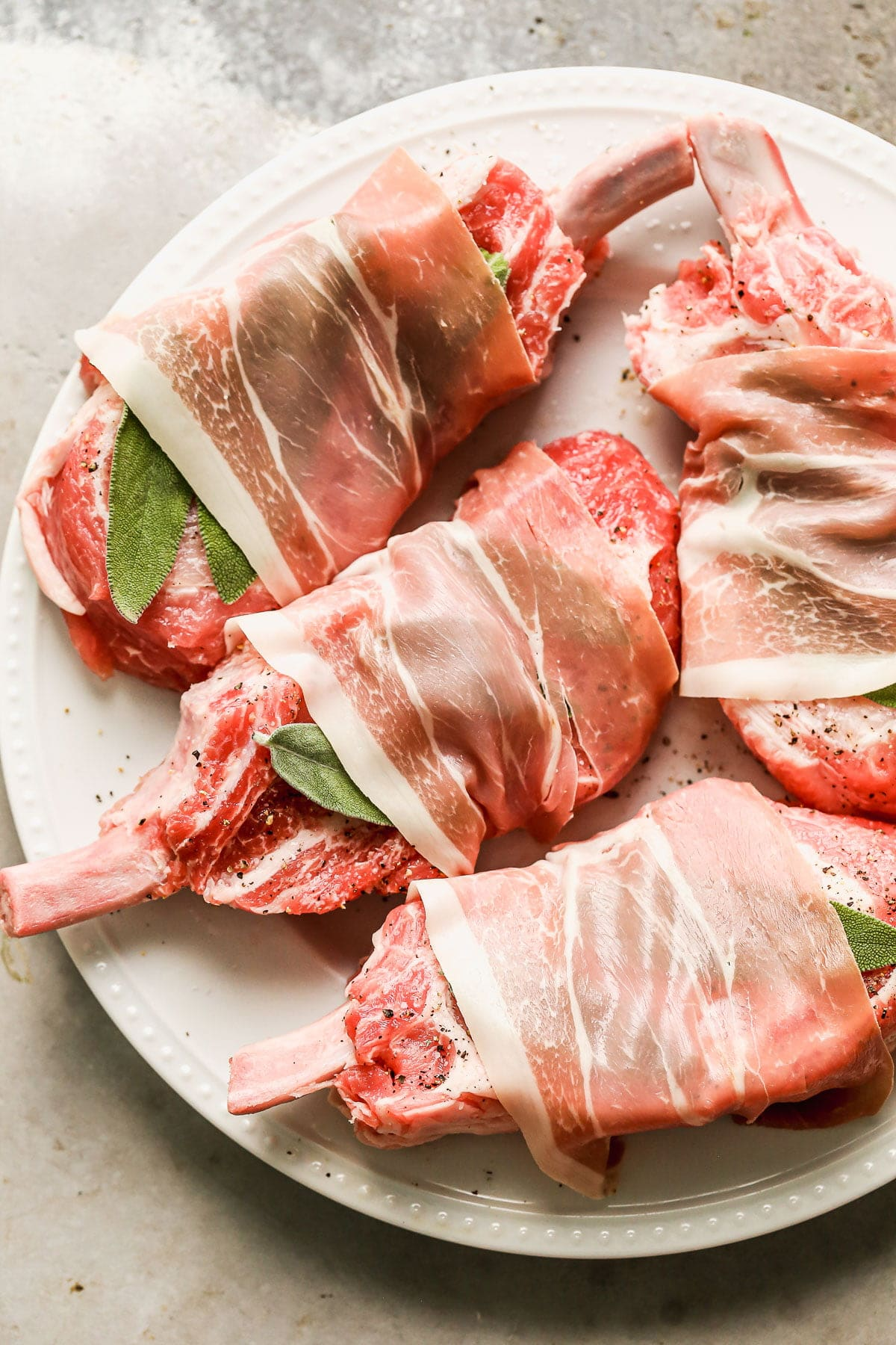 Pork Chops wrapped in sage and prosciutto