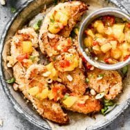Baked Coconut Chicken Tenders with Warm Mango Salsa