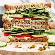 Green Cucumber Sandwich with Pistachio Goat Cheese