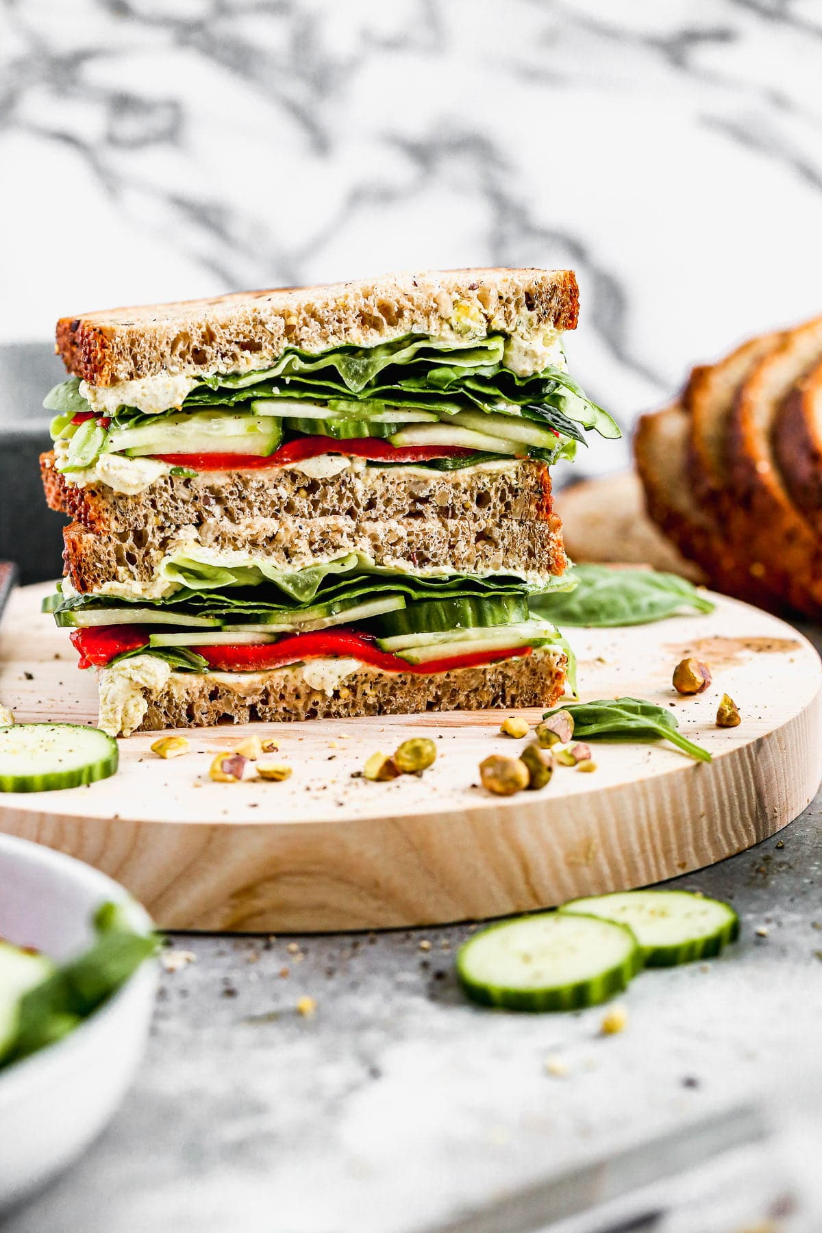 Green Veggie and Cucumber Sandwich with Pistachio Goat Cheese