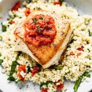 Pan-Seared Halibut with Sun-Dried Tomato Butter