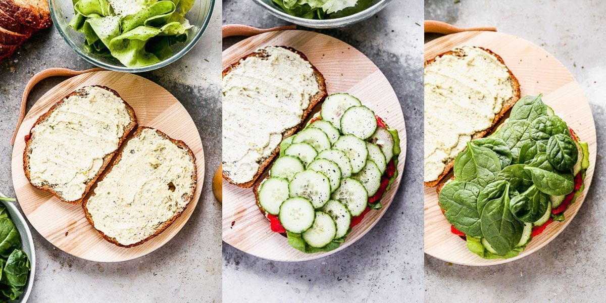 Pistachio goat cheese on whole-wheat bread, layered with and spinach.
