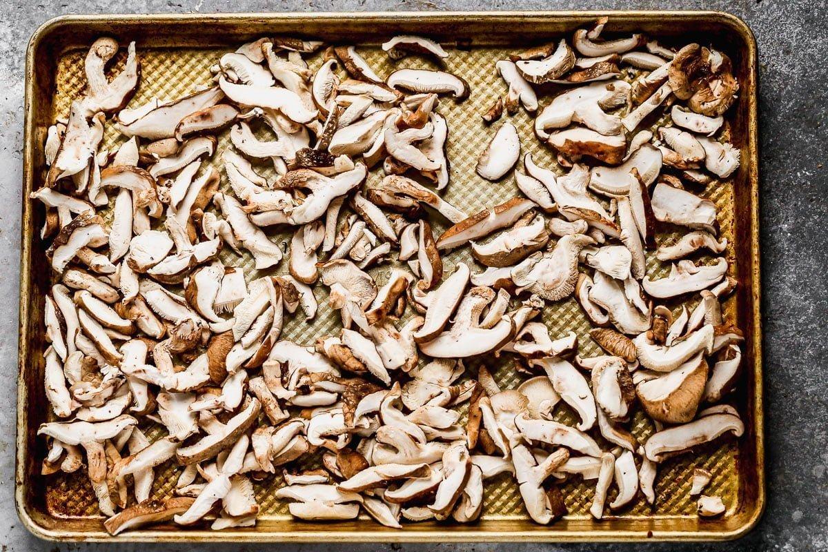 Shiitake mushrooms on sheet pan