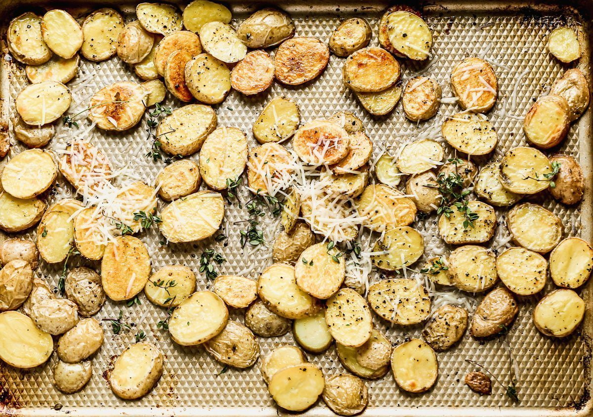 Crispy roasted potatoes and parmesan cheese