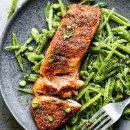 Blackened Air Fryer Salmon with Snap Pea Salad