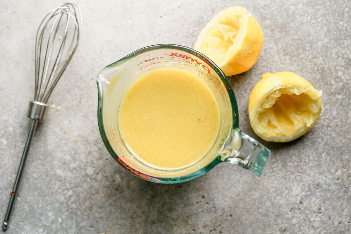 Homemade lemon dijon vinaigrette.