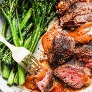 Grilled Hanger Steak with Homemade Steak Sauce