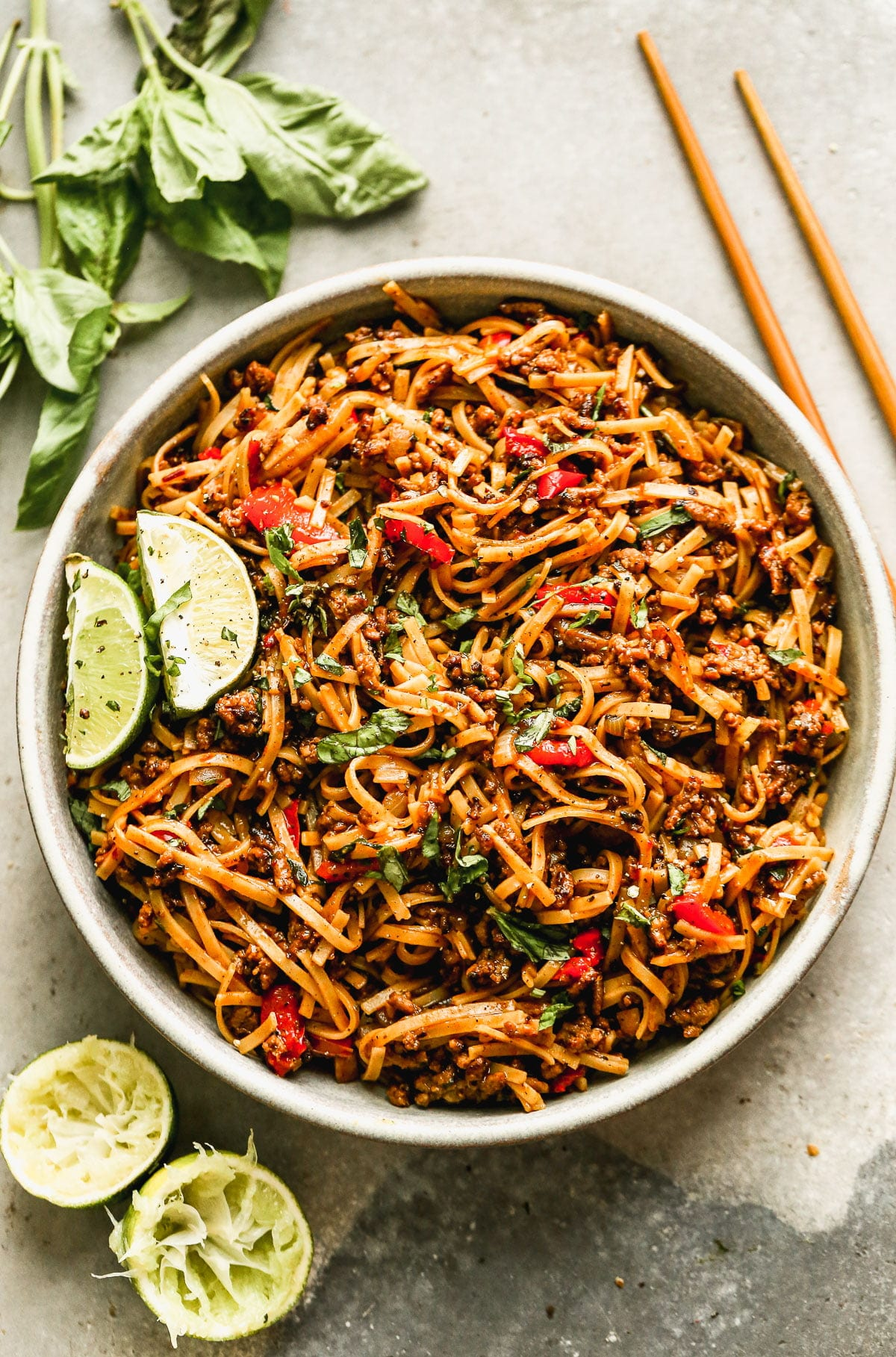 Brimming with saucy ground beef, chewy rice noodles, and plenty of veggies, our Spicy Beef Noodles are the perfect way to get dinner on the table fast and without complaint. These guys are equal parts sweet, spicy, and delicious and we can't get enough of them. Perfect way to use up leftover ground beef and veggies.