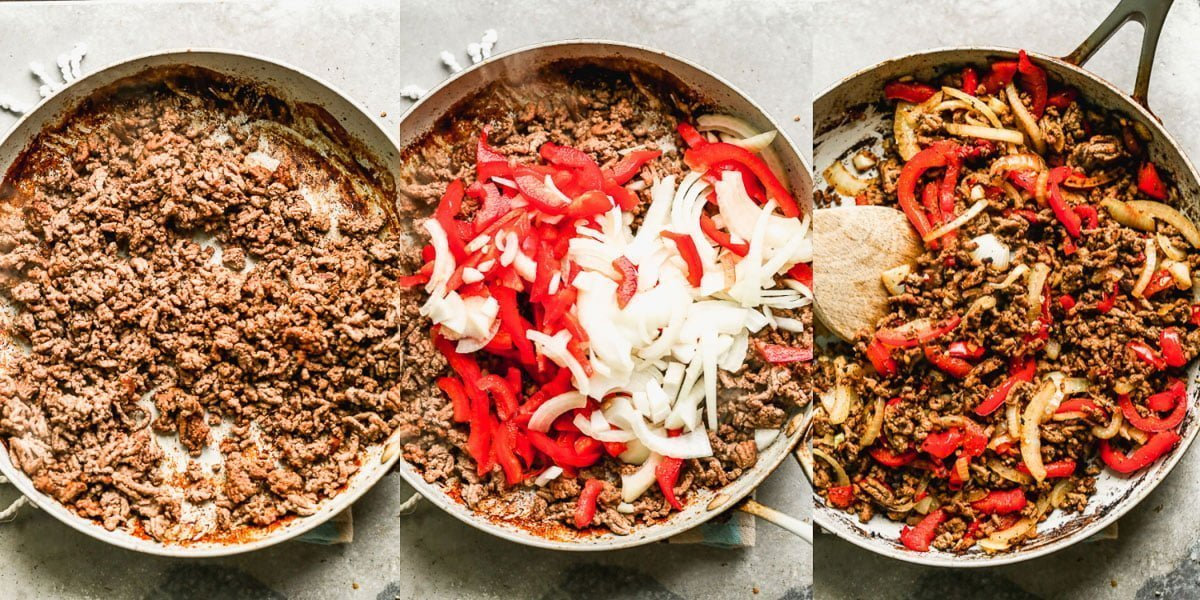 Brown ground beef. Saute veggies.