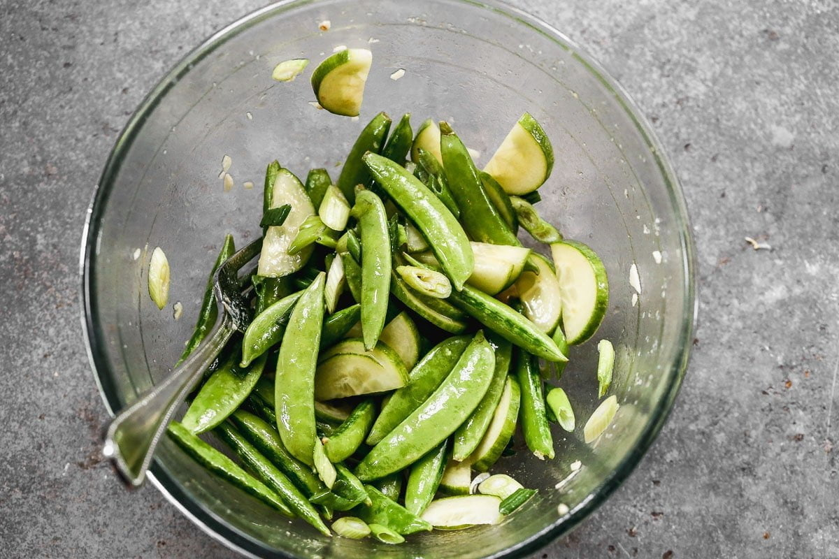 Snap peas and cucumber