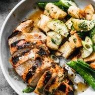 Asian Marinated Chicken with Snap Pea Panzanella