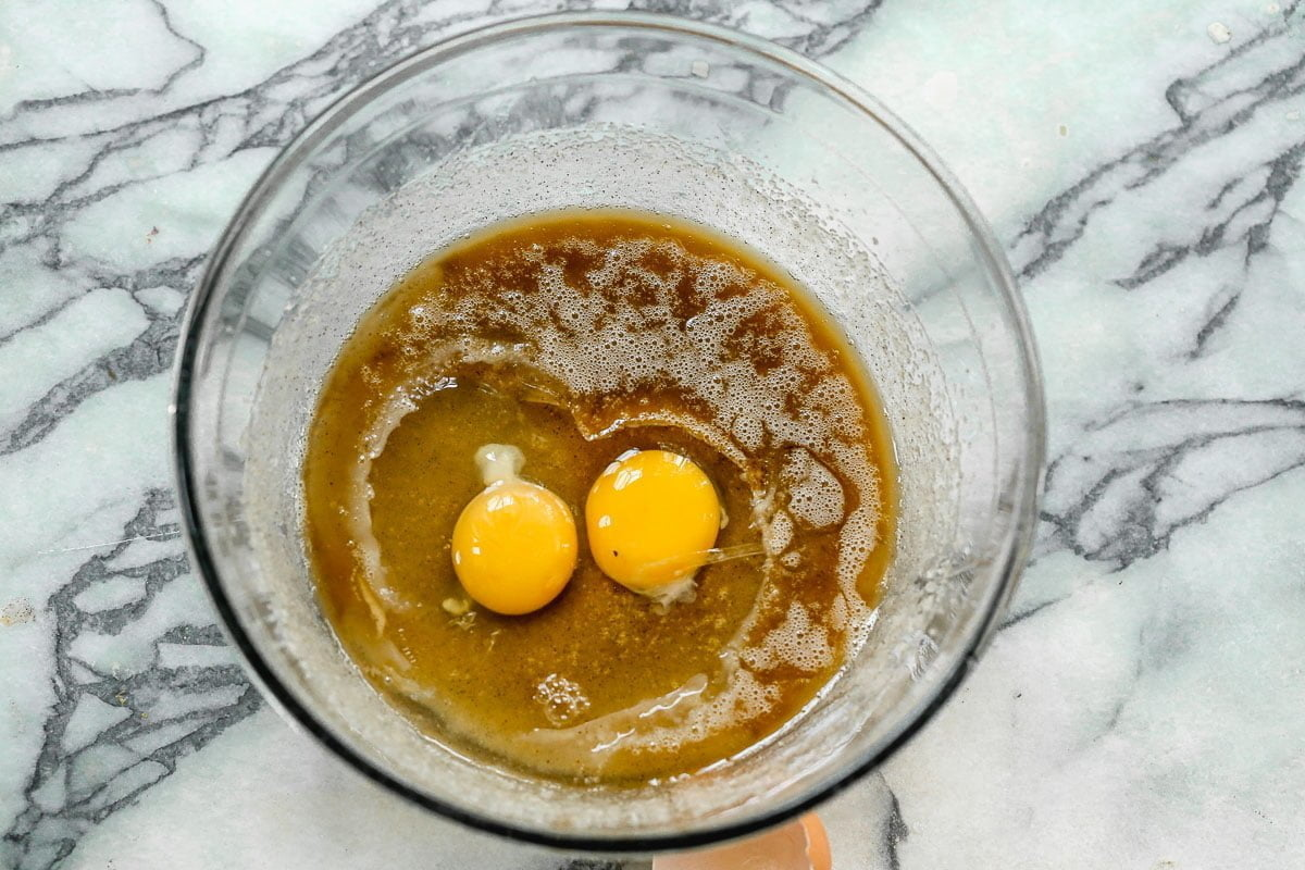 Beat eggs with sugar and butter