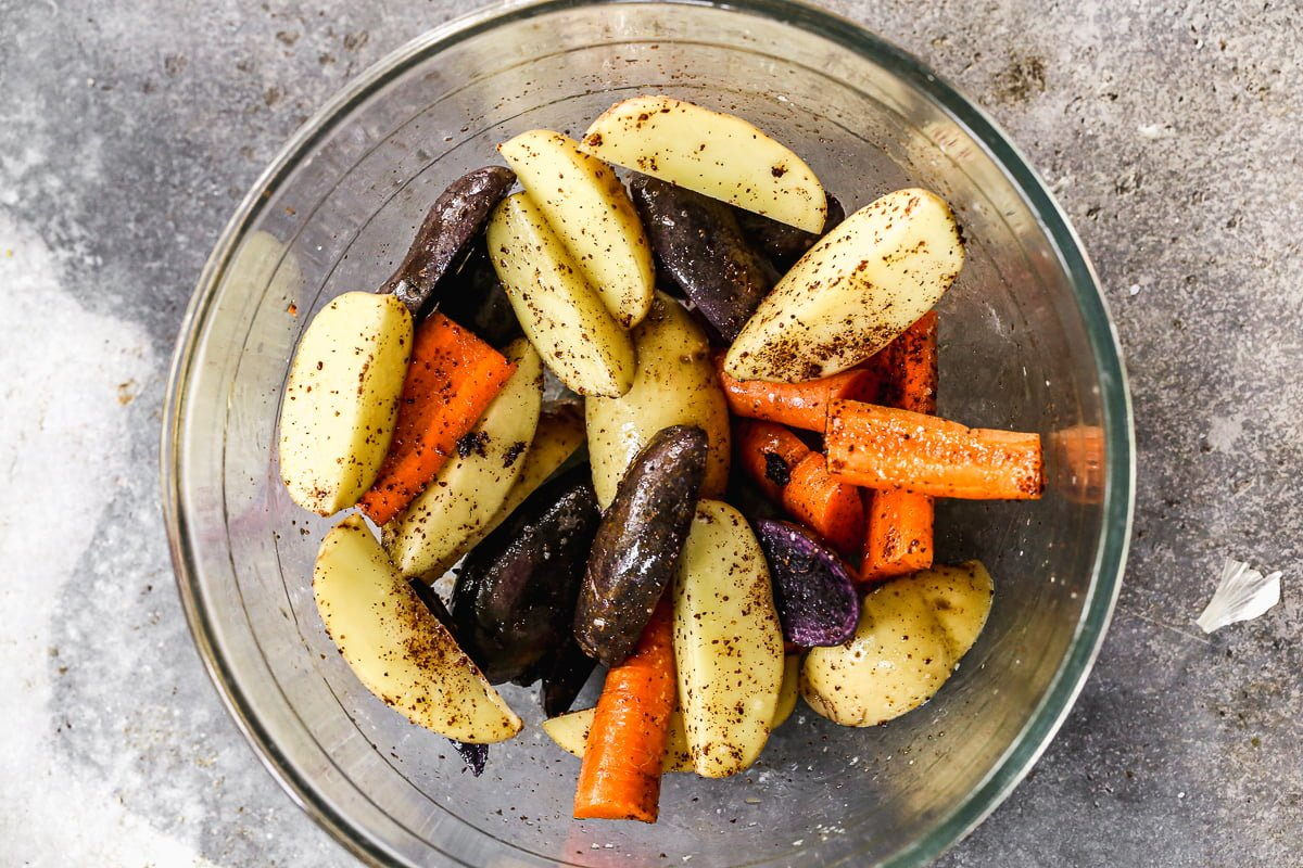 Carrots and potatoes with sumac and salt.