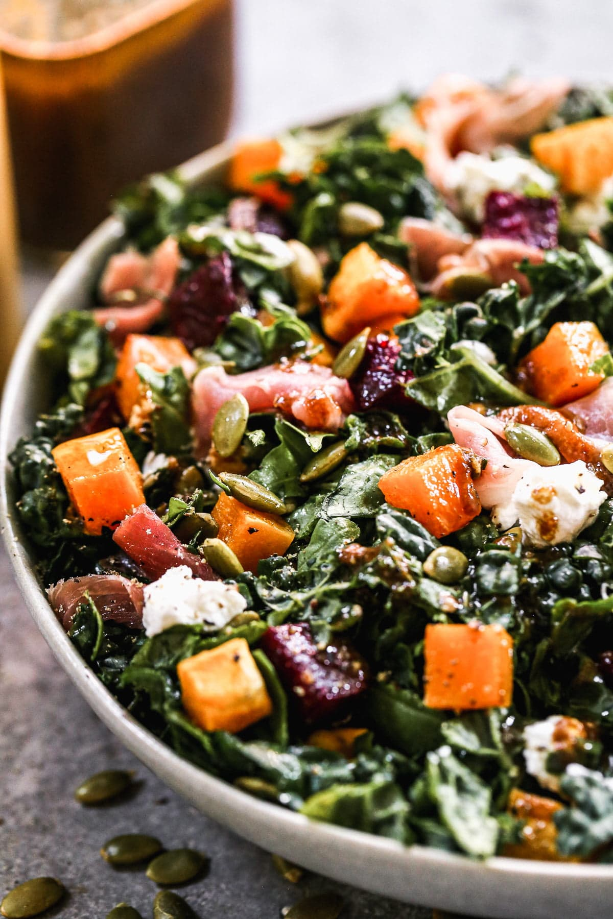 If you pick one salad to make on repeat this fall, let it be our Roasted Butternut Squash Salad. This fall-forward salad is packed with roasted butternut squash and beets, speckled with creamy goat cheese, crunchy pepita seeds and hand-torn pieces of salty prosciutto. We toss everything in a sweet and savory pumpkin vinaigrette and dig in.