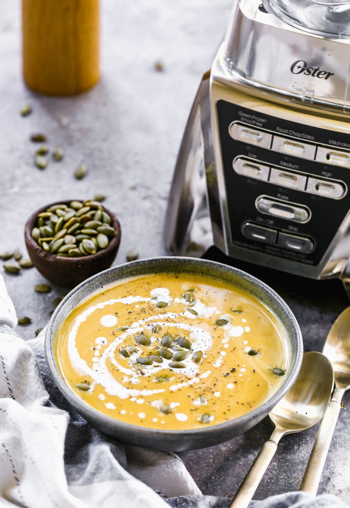 Real pumpkin, carrot, roasted garlic and hints of cardamom and ginger are the makings of our inagural ode to fall - Roasted Pumpkin Soup. This seasonal soup is creamy, luxurious and the only thing making the transition from hot sunny days to cooler temps bearable.